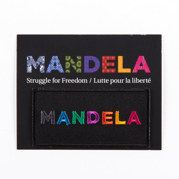 "Card with the text ""MANDELA"" and ""Struggle for Freedom / Lutte pour la liberté"""
