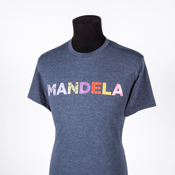 "heathered denim crew-neck shirt with the text ""MANDELA"" in multi-coloured and multi-patterned capital letters"