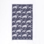 "White and grey tea towel featuring caribou and the text ""Canada"""