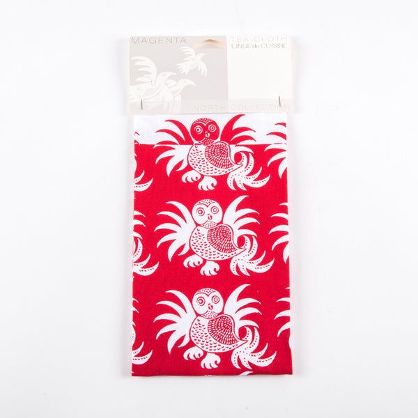 "Folded tea towel with a large tag featuring the text ""Magenta"" and ""Tea Cloth / Linge de cuisine"""