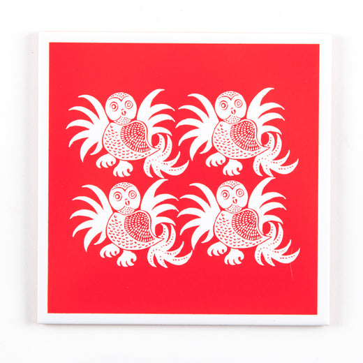 Red and white square trivet / wall hanging featuring owls
