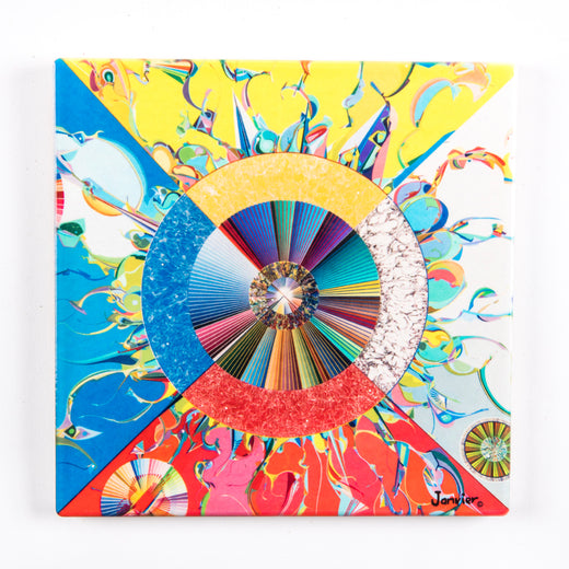 Trivet/wall hanging featuring art featuring a circle, radiant lines and abstract shapes with vibrant colours