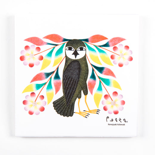 Trivet/wall hanging featuring artwork of an owl surrounded by flowers