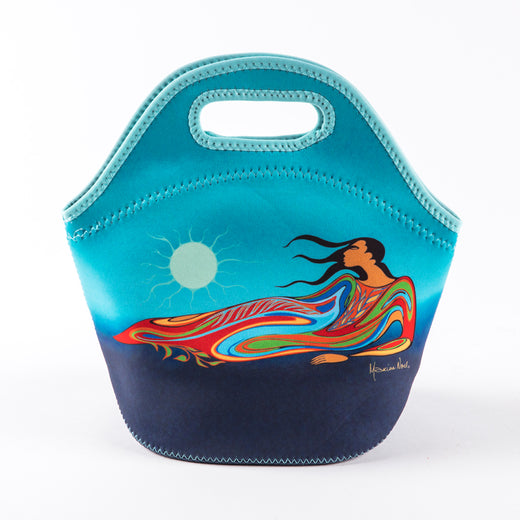 the front of a lunch bag featuring artwork by Indigenous artist Maxine Noel