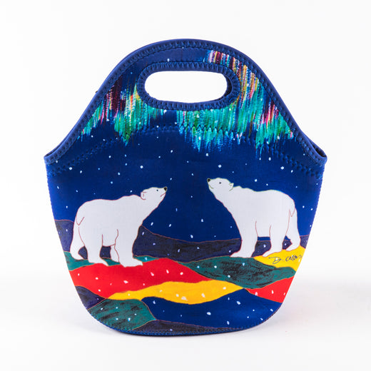 the front of a lunch bag featuring artwork with two polar bears