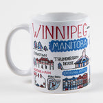 "Other side of mug that features the text ""Winnipeg"" and illustrations of Winnipeg landmarks"