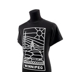 "T-Shirt on a mannequin with a design of the Canadian Museum for Human Rights and the word ""Winnipeg,"" viewed from an angle."