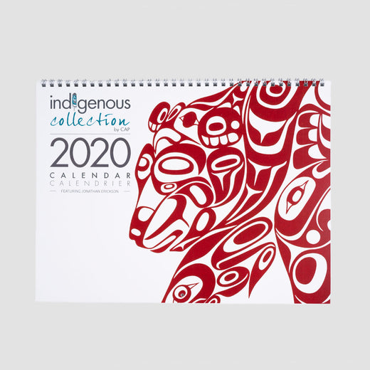 "Cover of the calendar showing the work ""Bear Design"", a stylized print of a bear."