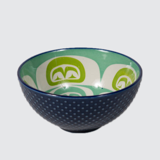 Navy blue textured bowl featuring an inner contemporary Indigenous pattern of the moon.
