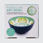 "Cover of the bowl packaging showing the bowl from two angles. Packaging reads ""Porcelain Art Bowl""."