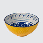 Yellow textured bowl featuring an inner contemporary Indigenous pattern of hummingbirds.