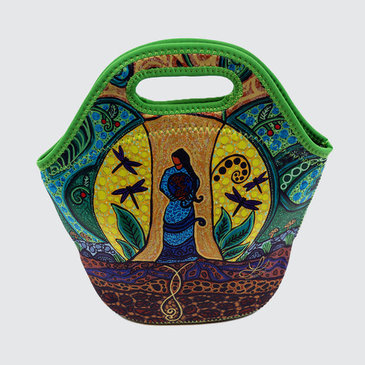 Front of lunch bag featuring a woman standing in front of a tree and holding the earth.