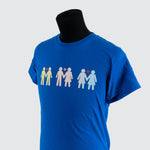 blue shirt featuring 3 stick-figure-like couples holding hands; a red heart is between each set of heads