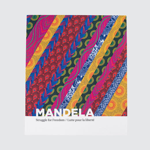 "Front cover of book with the title ""Mandela: Struggle for Freedom"" on a colourful shwe-shwe pattern."
