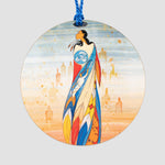 Close-up of the ornament featuring art depicting an Indigenous woman.