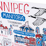 Close-up on a stylized print representing Winnipeg.