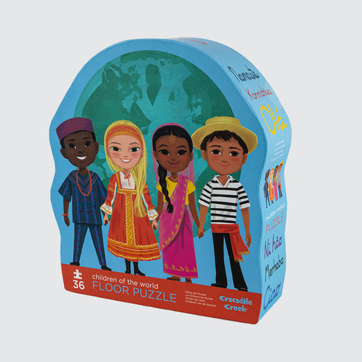 "Cover of box featuring 4 children from around the world holding hands in front of the earth. Has the text: ""Children of the World Floor Puzzle"""