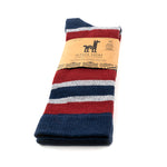 "1.	Socks with blue, gray, and maroon stripes, folded in half and viewed from an angle. On the label we can read: ""Alpaca Socks""."