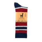 "Socks with blue, gray, and maroon stripes, folded in half. On the label we can read: ""Alpaca Socks""."