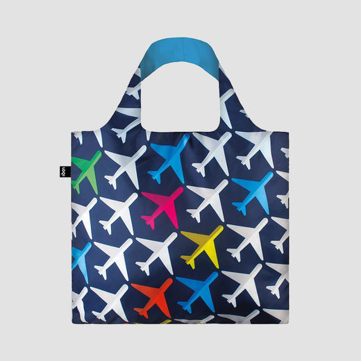Bag laid flat showing a pattern of planes.