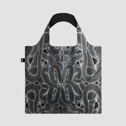 Bag laid flat showing an abstract, modern black-and-white pattern.