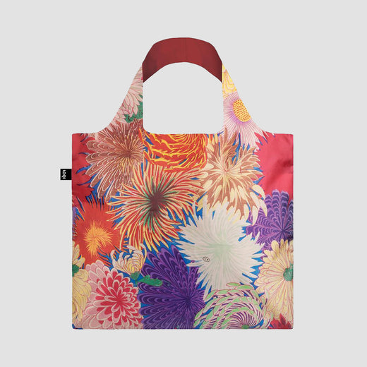 Bag laid flat showing a pattern of colourful chrysanthemum flowers.