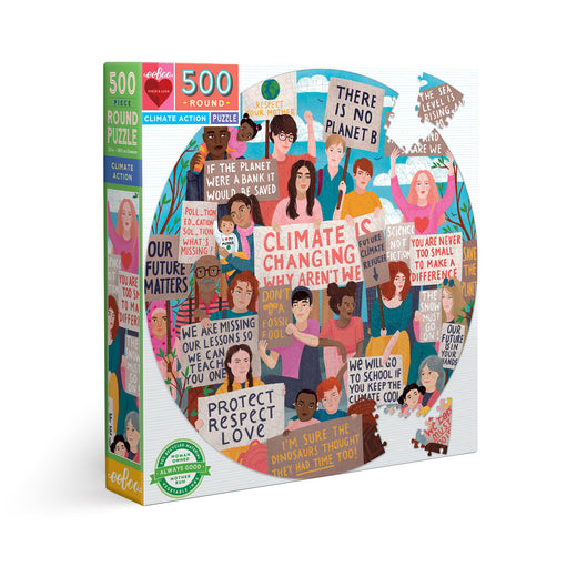 "Puzzle box viewed at an angle, showing a variety of different people holding up signs with messaging such as ""Climate changing, why aren't we"" and ""There is no planet B."""