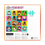 "Back of puzzle box featuring important women of history. The box is titled: ""Little Feminist""."