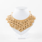 laser-cut, stitched faux leather necklace in gold