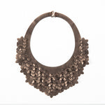 laser-cut, stitched faux leather necklace in titanium