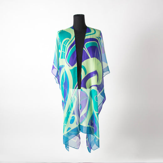 Blue and green sheer wrap featuring art by Tsimshian artist Morgan Green
