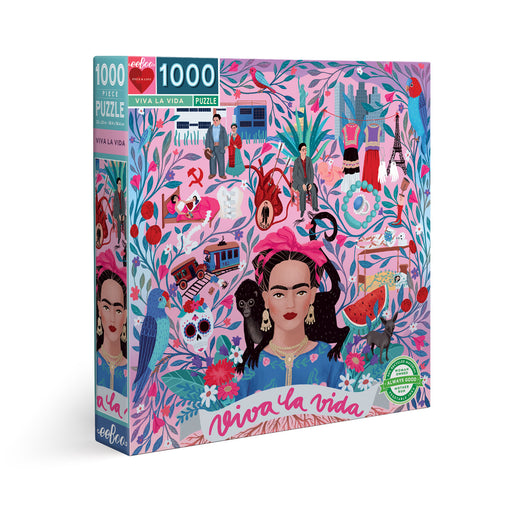 Puzzle box viewed at an angle. The image is a collage of illustrations featuring Frida and other small designs such as birds and a skull, all connected by a beautiful flowering vine.