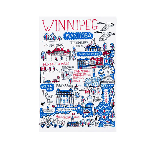 "postcard that features the text ""Winnipeg"" and illustrations of Winnipeg landmarks"