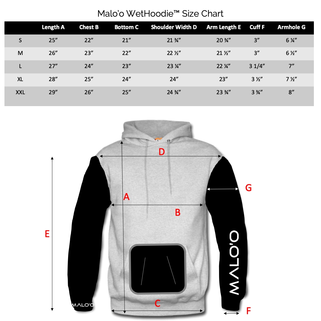 Wet Hoodie Size Chart