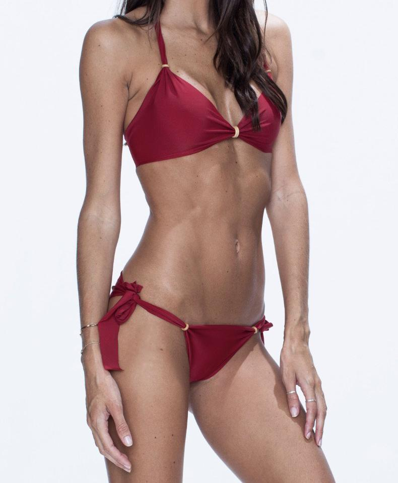 NALLA swimwear, red bikini, versatile, comfort, summer look.