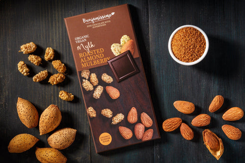 Benjamissimo with Roasted almonds and Mulberry Organic Vegan Gluten free Chocolate with Superfoods
