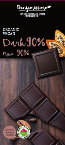 Benjamissimo Dark 90% Organic Vegan Gluten-free Chocolate with Superfoods - 10 Pieces Pack