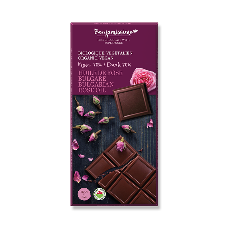 Dark vegan chocolate with Bulgarian rose oil. Dairy soy and gluten free.