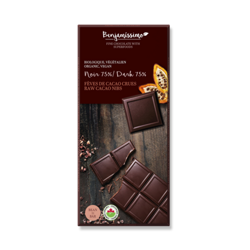 Dark 75% organic vegan chocolate with raw cacao nibs. Dairy, eggs, gluten and soy free.