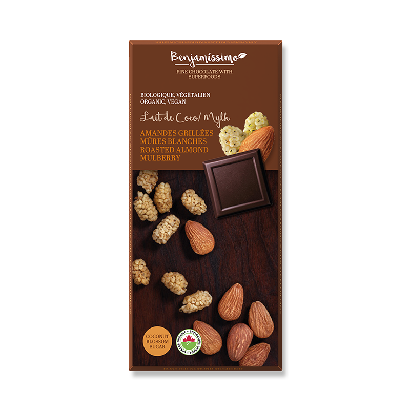 Organic vegan chocolate with Roasted almonds and mulberry. Soy eggs and gluten free.