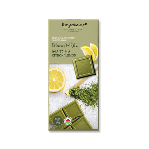 Organic vegan gluten free chocolate with superfoods. Matcha and lemon flavor