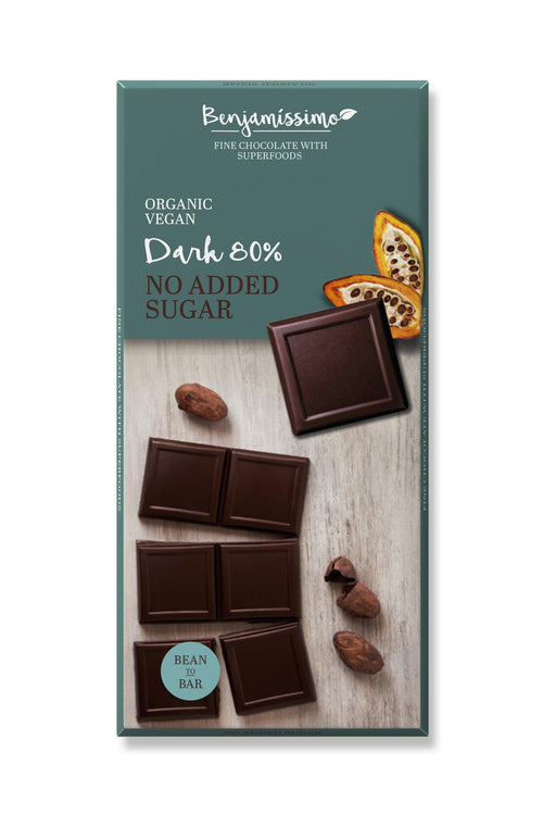 Benjamissimo 80% Dark, No sugar added  10 Pieces Pack