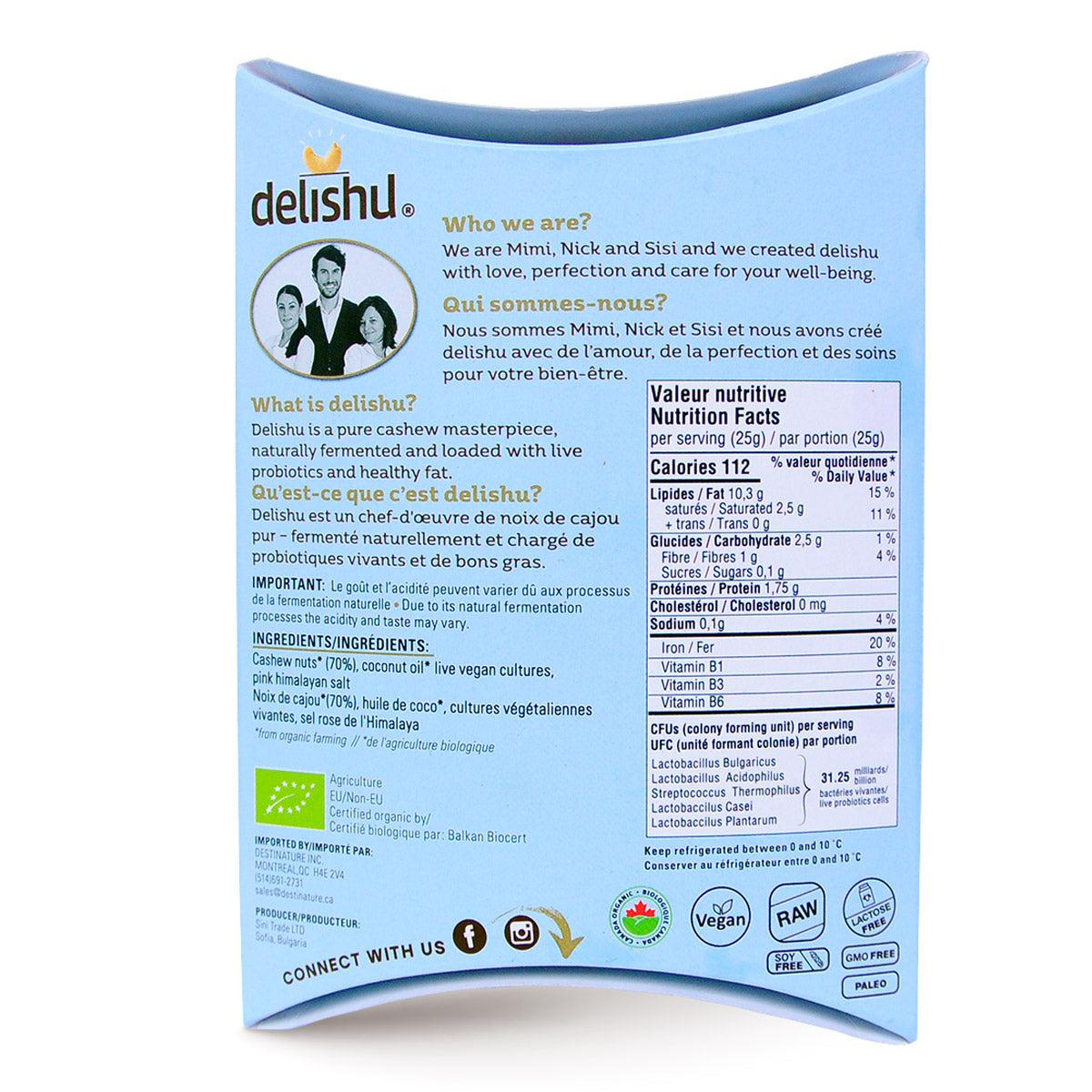 Delishu – Cultured Cashew Product, Natural, Organic