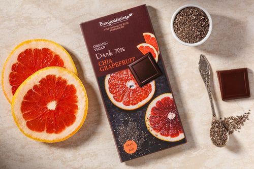 Organic vegan dark chocolate with grapefruit oil and chia seeds. Dairy soy and gluten free.