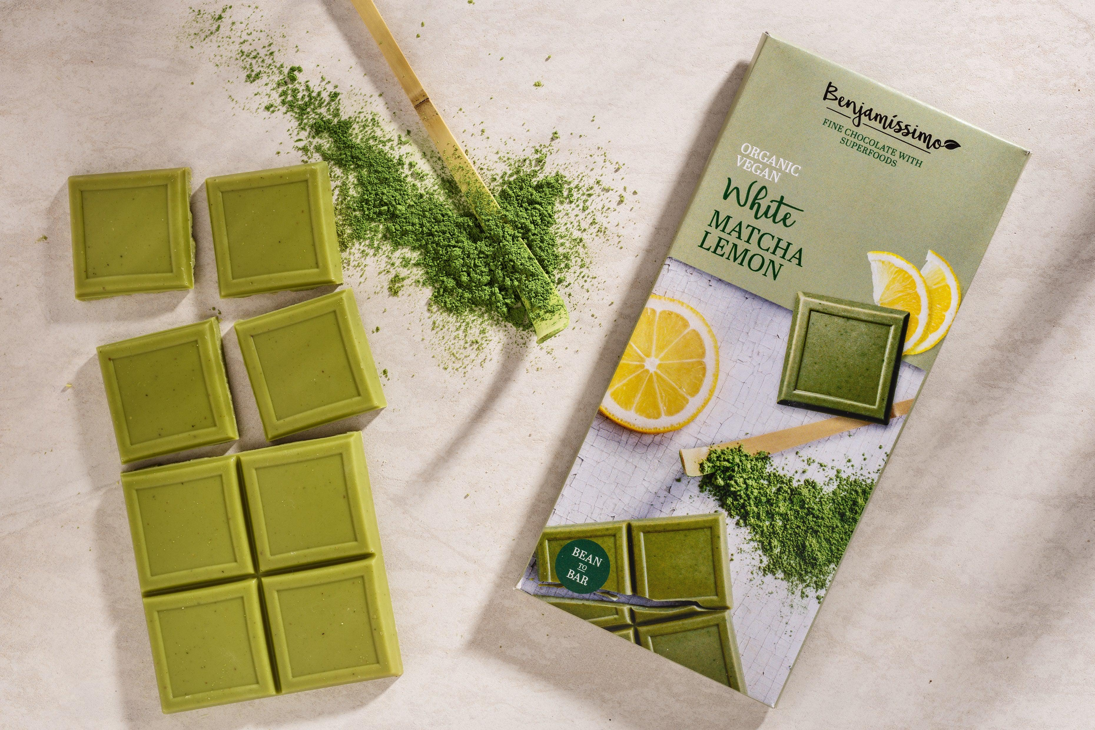 Organic vegan white chocolate with matcha green tea. Free from soy gluten dairy and eggs