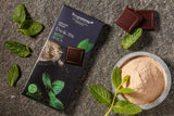 Vegan organic chocolate with mint oil and maca. Free from dairy, eggs, gluten and soy