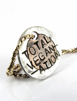 handmade silver/copper Total VegaNation necklace