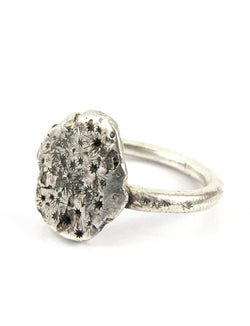 handmade sterling silver or 14k Big Asteroid ring
