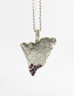100% handmade sterling silver and ruby Shark Tooth