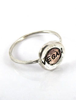 handmade silver/copper Vegan Love ring